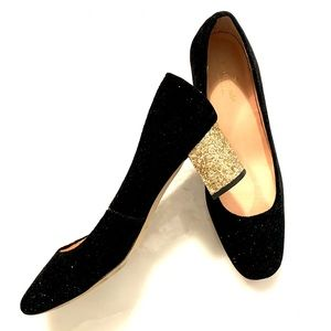Shoes, KATE SPADE Velvet with sparkle. Gold heel.